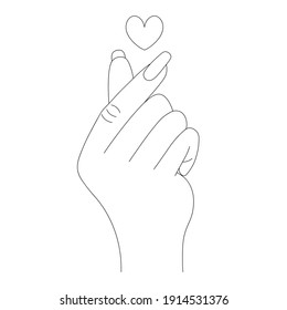 Korean heart drawn by fingers. Sketch. Expressing love with a romantic gesture. Vector illustration. Outline on an isolated white background. Valentines Day. Coloring book for children. Doodle style.