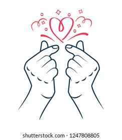 korean heart hand gesture symbol. Symbol of the heart and love. Korea finger heart. Icon in the