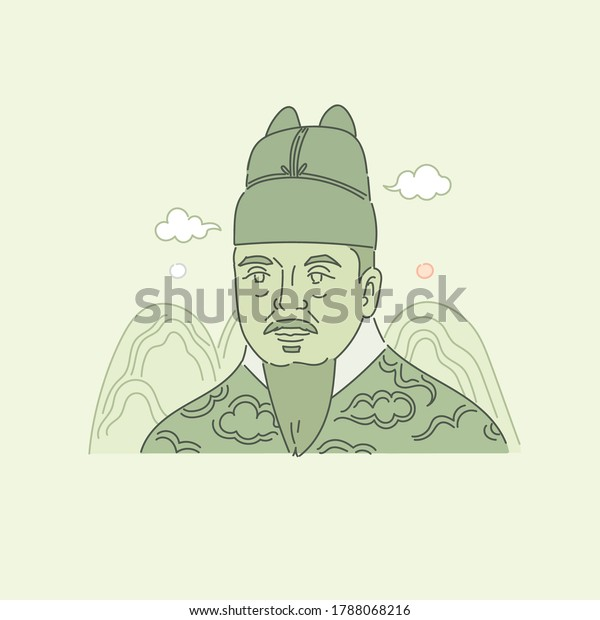 A Korean historical figure depicted on the 10,000 won bill. 'King Sejong the Great' vector illustration.