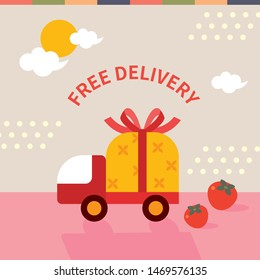 Korean holiday (Chuseok) free delivery event concept image. vector