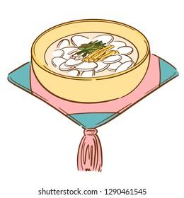 korean holiday food tteokguk rice-cake soup new year 2019 line illustration