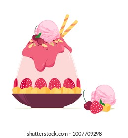 Korean ice shaving dessert with frozen fruit and scoop of strawberry ice cream vector illustration