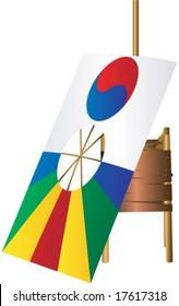 Korean Kite on white background