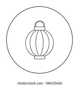 Korean lantern icon in outline style isolated on white background. South Korea symbol stock vector illustration. - Shutterstock ID 584155426