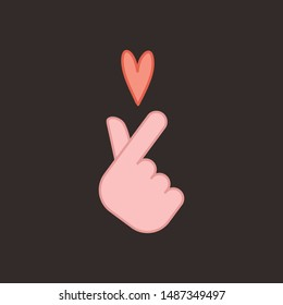 Korean love sign, hand gesture of romance. Finger heart symbol.