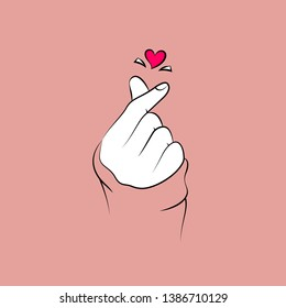Korean love sign. Korea finger heart. Vector