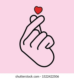Korean love sign, valentine's day poster decoration. Korea finger heart vector illustration