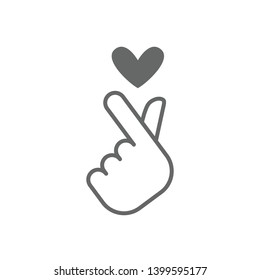 korean love sign vector icon, hand with heart symbol