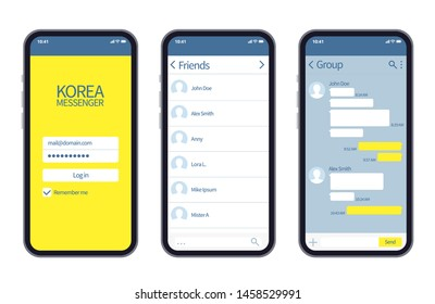 Korean messenger. Kakao talk interface with chat boxes, contact list and icons vector message template. Illustration of kakao app interface mobile