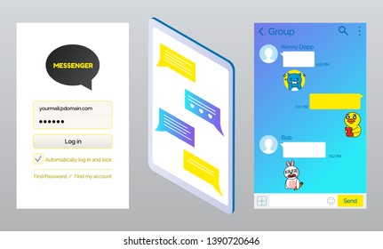 Korean messenger kakao talk pages vector, interface of login and password filling form and chatting box. Stickers and emojis for conversation expression