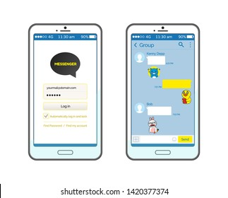Korean messenger with start and chatting page vector, set of smartphones with conversation. Stickers and emojis, social media for online communication