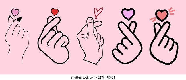 Korean mini love sign , Korean finger heart vector illustration set collection