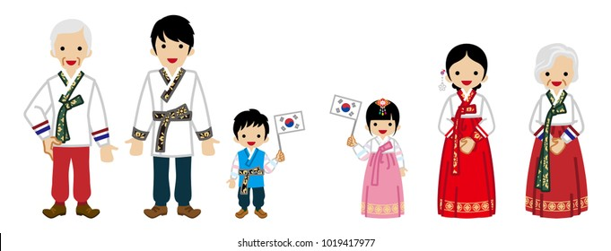 Korean Multi-Generation Family Wearing Traditional clothing,Kids holding a National flag