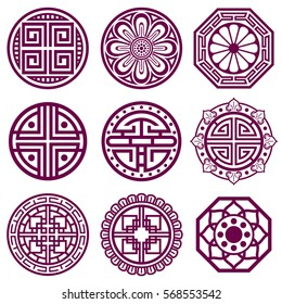 Korean ornament, asian traditional vector symbols, bathroom pattern. Round elements in traditional korean style, illustration of korean tattoo.