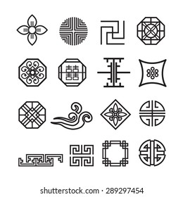 Korean ornament icon,vector set
