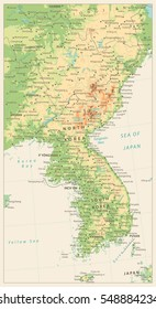 Korean Peninsula Detailed Physical Map Isolated on Retro White Color. Vector illustration.