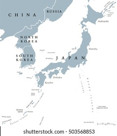 Korean peninsula and Japan countries political map with national borders and islands. Nations in East Asia. English labeling and scaling. Gray illustration on white background.