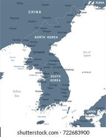 Korean Peninsula Map - Detailed Vector Illustration