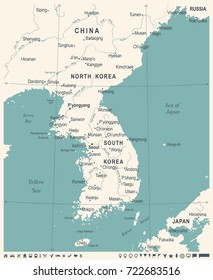 Korean Peninsula Map - Vintage Detailed Vector Illustration