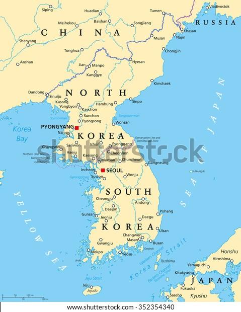 Koreanske Halvo Politisk Kort Med Nord Lagervektor Royaltyfri