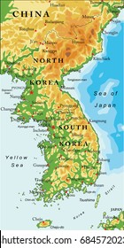 Korean Peninsula relief map