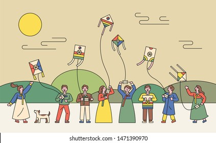Korean people playing traditional costumes and kites. flat design style minimal vector illustration.