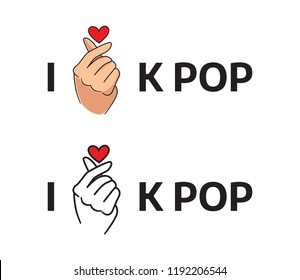 Korean pop poster. Korean love symbol, k pop vector illustration on white background. Korean t shirt print, sticker design.