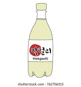 "Korean rice wine. Korean traditional drink Makgeolli. Korean word ""makgeolli"""