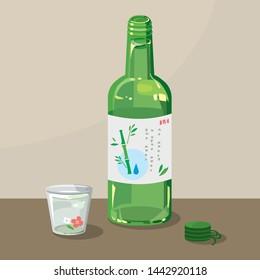 Korean sake soju illustration. Vector EPS10
