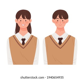 Korean student character vector illustration. Male and female students are wearing school uniforms.