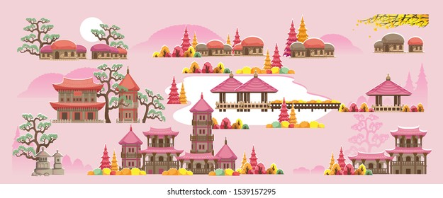 Korean style building. Beautiful houses and temples in Korean style. The autumn scenery of Korea during the fall season. Various colors of autumn.