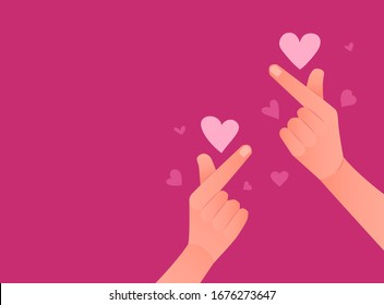 Korean symbol of love. Pink backgroun with hands gesture heart. Vector illustration