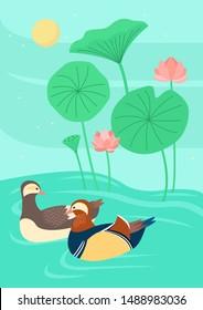 Korean traditional animal drawing. Mandarin duck. Vector illustration.