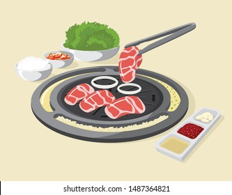 Korean Traditional Barbecue. Cubed meat on the grill with eggs and cheese around the stove, Kim-chi and rice bowl . Illustration Vector