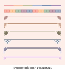 Korean traditional decoration line. Asian style vector graphic elements