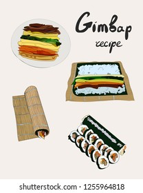 Korean traditional dish gimbap. Korean sushi. Gimbap recipe. Vector hand drawn illustration.