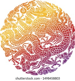 Korean traditional dragon pattern background, dragon with clouds and symbol of emperor