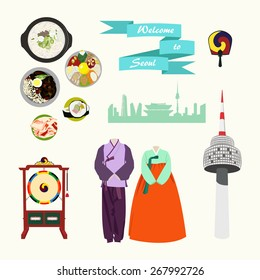Korean traditional elements vector set. Korean traditional clothes, korean food, traditional korean drums. Landscape of Seoul, Seoul tower. Bibimbap, kimchi, kimbap.