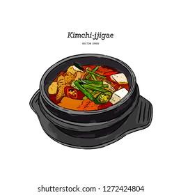 korean traditional food kimchi stew, kimchi jjigae, hand draw sketch vector.