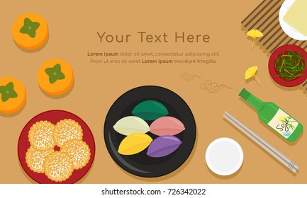 Korean traditional food for Thanksgiving Day(Chuseok or Hangawi), Set of Persimmons, songpyeon(rice cake), side dishes and soju bottle. vector illustration.