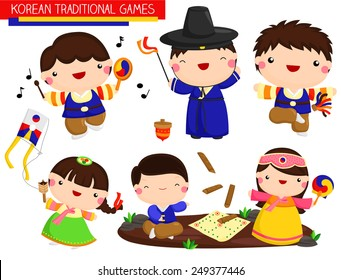 Korean Traditional Games Vector Set