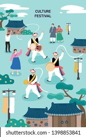 Korean Traditional Illustration. Poster template for outdoor festival. Flat cartoon colorful vector illustration.