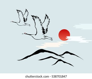 Korean traditional illustration. Red-crowned crane and sun.