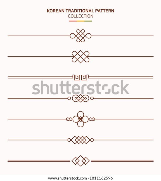 Korean traditional line. East Asian vintage style graphic illustration.