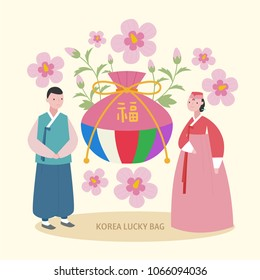 Korean traditional lucky bag and costume characters. vector illustration flat design
