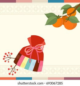 Korean traditional lucky bag with persimmon tree background