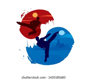 Korean Traditional Martial Arts Taekwondo. Cool Logo Vector Illustration EPS10