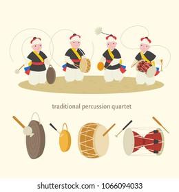 Korean traditional music percussion quartet. vector illustration flat design