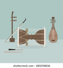 Korean traditional musical instrument vector illustration.
