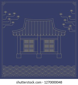 Korean traditional object line vector illustration. Traditional house and pattern.